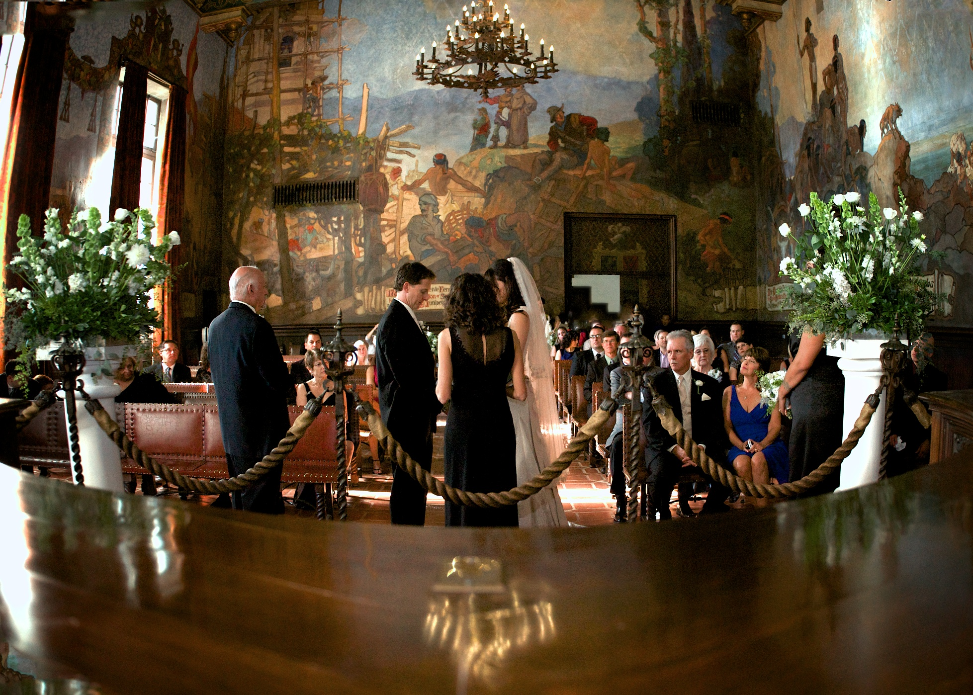 Santa barbara courthouse mural room wedding the for Mural room santa barbara courthouse
